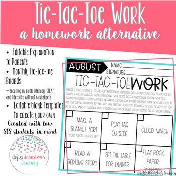 Tic-Tac-ToeWork- an alternative to homework