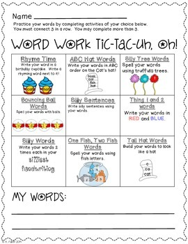 Tic-Tac-Uh, Oh!  Word Work Choice Boards (silly author themed)