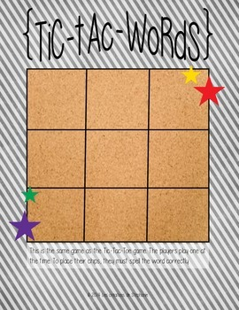 Tic-Tac-Words - A Word Work Game