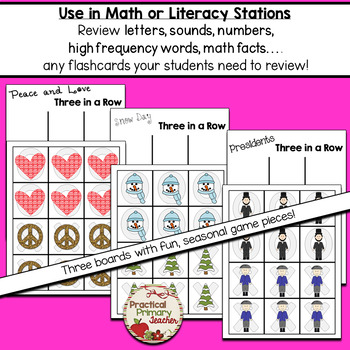 Three in a Row Game (Valentines, Snow, Presidents) Literacy or Math