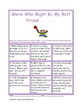 Tic-tac-toe Gloria who might bemy best friend
