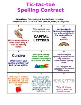 Tic tac toe Spelling contract Reading Street