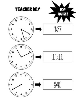Tic-toc Reading a Clock - Pop Quiz - Tell time in no time!