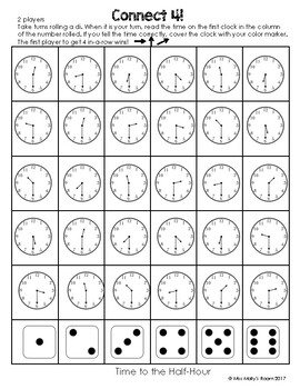 Tick Tock Clock Time Telling Games, memory, connect 4, go fish, roll and write