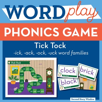 Tick Tock Mixed Short Vowel Word Families Phonics Game - Words Their Way Game