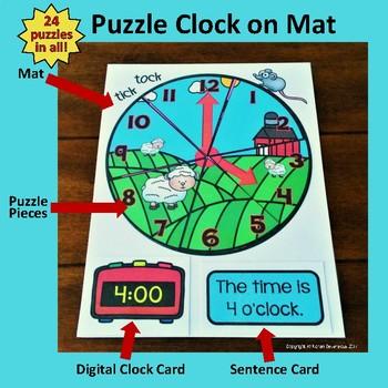 Tick Tock Puzzle Clock - 24 FARM ANIMAL clock puzzles