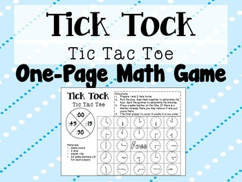 Tick Tock Tic-Tac-Toe: One Page Math Game for Telling Time to the 5 Minutes