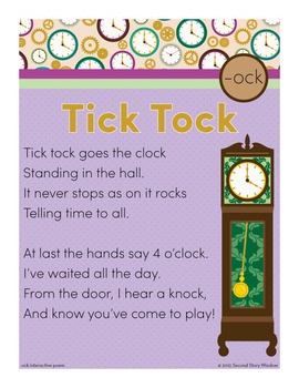 Tick Tock - ock Word Family Poem of the Week - Short O Fluency Poem