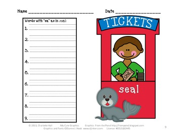 """Ticket Booth Digraphs - Working with the Vowel Sounds of """"ea"""""""