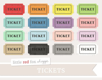 Ticket Clipart; Movie, Cinema, Theater, Carnival, Circus