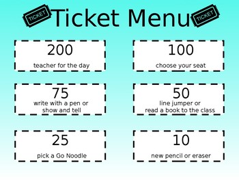 Ticket Menu - EDITABLE