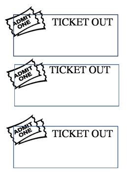 Ticket Out Template