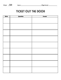 Ticket Out The Door Sheet