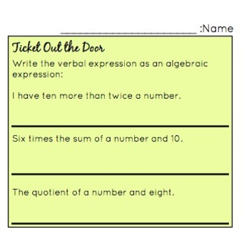 Ticket Out the Door - Algebraic Expressions