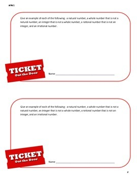 Ticket Out the Door (Exit Pass) - Common Core 8th Grade Math 8.NS.1