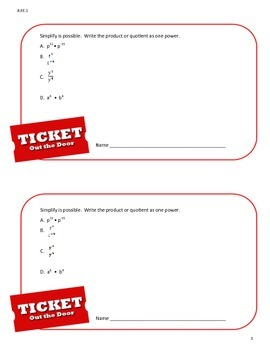 Ticket Out the Door (Exit Pass) - Common Core 8th Grade Math 8.EE.1