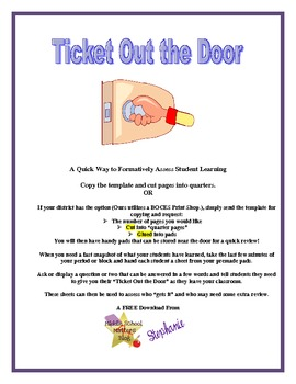 Ticket Out the Door - Formative Assessment