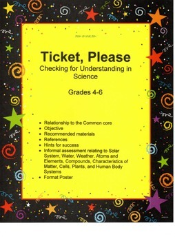 Science - Ticket, Please: Checking for Understanding