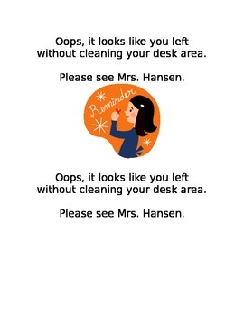 Ticket Reminder to Clean Desk Before Dismissal