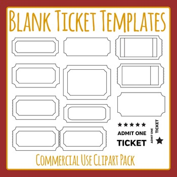 Ticket Templates Black and White Commercial Use Clip Art Set