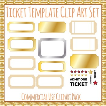 Ticket Templates Commercial Use Clip Art Set