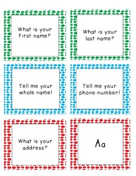 Kindergarten Assessment Flash Cards