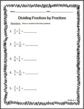 Dividing Fractions by Fractions Worksheet