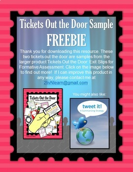 Tickets Out the Door Sample FREEBIE!