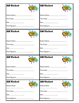 Tickets for use with  Accelerated Reader (AR)
