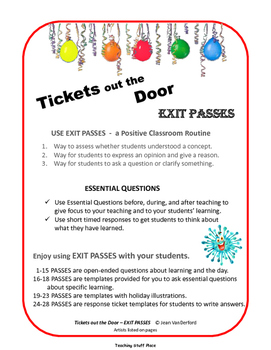Tickets out the Door | Essential Questions | EXIT PASSES Class Management