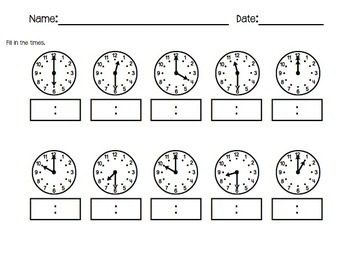 Ticking Time:  cut and paste, telling time to the hour and half hour, matching