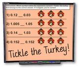 Tickle the Turkey Decimals Smart Board Practice