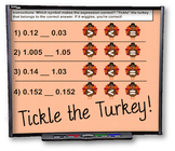 Tickle the Turkey Decimals Smart Board Practice