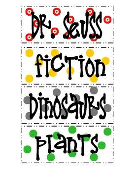 Tickled 2 Teach Classroom Book Basket Labels