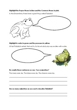 tiddalick the frog grammar worksheet by leah cornish tpt. Black Bedroom Furniture Sets. Home Design Ideas
