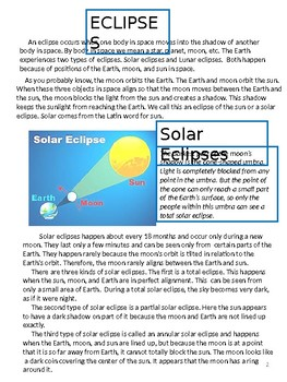 Eclipses Content Reading Activities and Assessments