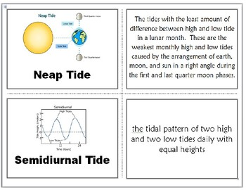 Tides Vocabulary Quiz & Flashcards: Earth, Sun, and Moon Pack