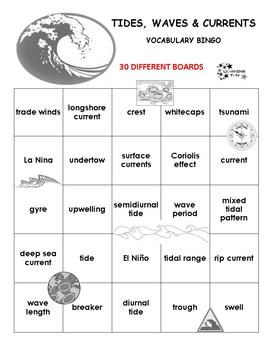 Tides, Waves and Currents Vocabulary Bingo