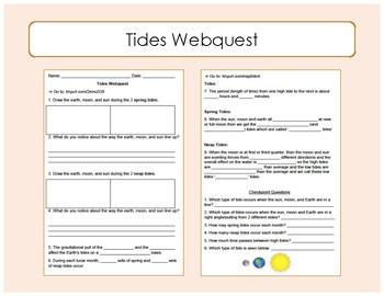 Tides Webquest / Interactive Website Worksheet by Speaking Science