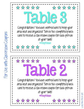 Tidy Table Signs