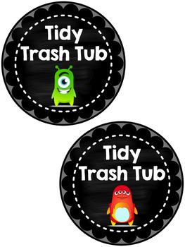 Tidy Trash Tub Labels FREEBIE