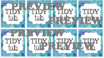 Tidy Tub Labels {Cool Watercolor} PLUS Editable
