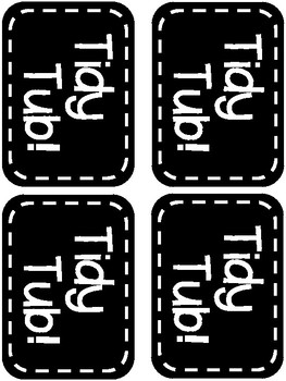Tidy Tub Labels. Black and White. 2 Sizes