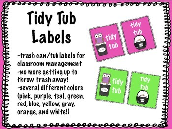 Tidy Tub Labels (for table trash cans!)