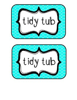"""Tidy Tubs"" Table - Grouped Desks Labels - Bright Turquoise Quatrefoil"