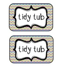 """""""Tidy Tubs"""" Table - Grouped Desks Labels - Colorful Chevron"""