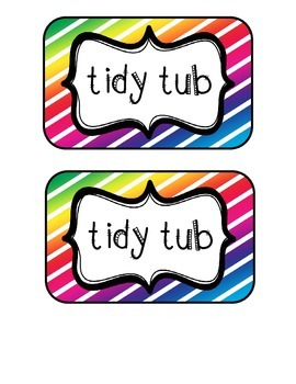 """Tidy Tubs"" Table - Grouped Desks Labels - Colorful Diagonal Stripes"