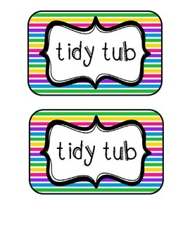 """Tidy Tubs"" Table - Grouped Desks Labels - Colorful Stripes"