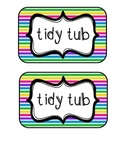 """""""Tidy Tubs"""" Table - Grouped Desks Labels - Colorful Stripes"""