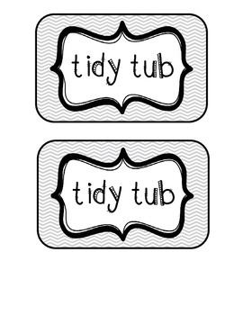 """""""Tidy Tubs"""" Table - Grouped Desks Labels - Gray Chevron"""